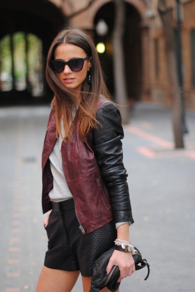 brown leather jacket shorts outfit