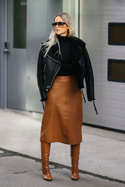 brown midi skirt midi calf leather roots