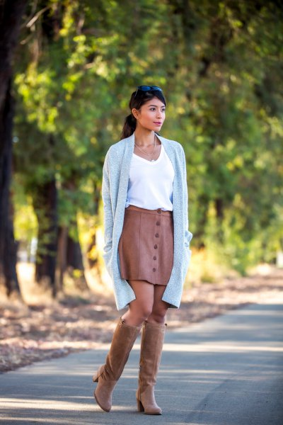 brown suede knee high boots leather skirt cardigan