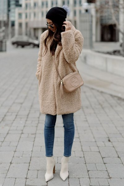 camel teddy coat white pointed toe heels