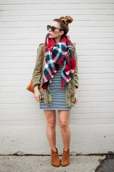 cargo jacket plaid linen scarf black white striped dress