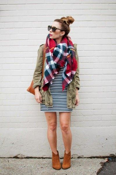 cargo jacket plaid linen scarf black white striped dress