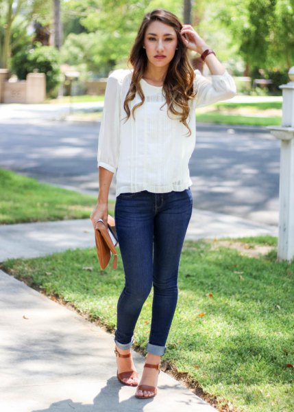 chiffon blouse cuffed skinny jeans