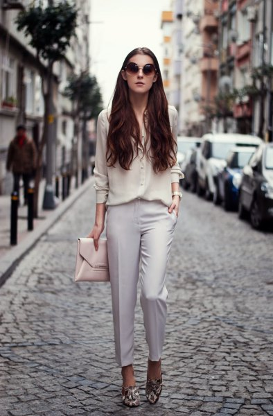 chiffon shirt light grey chino floral loafers