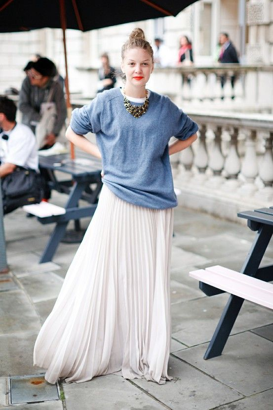 chiffon skirt blue sweater