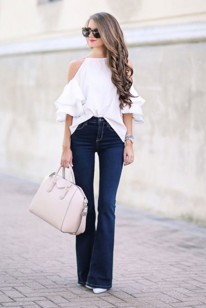 cold shoulder white ruffle top flare jeans
