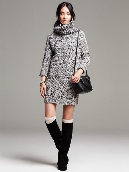 cowl neck black and white marled sweater dress