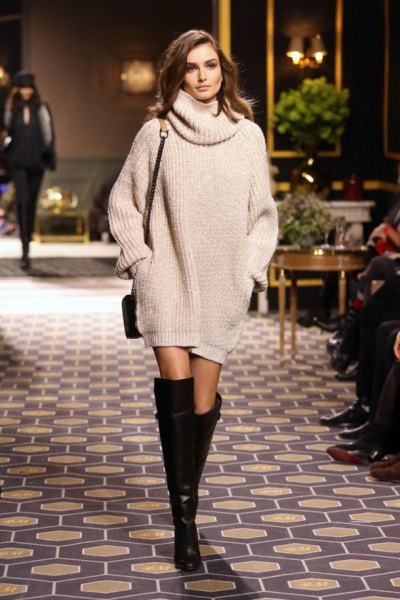 cowl neck knit sweater dress knee high boots