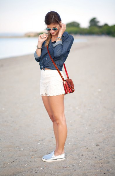 dark blue knotted denim shirt