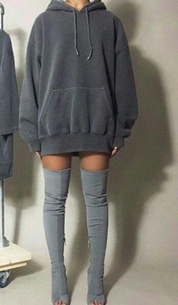 dark grey hoodie dress grey thigh high boots