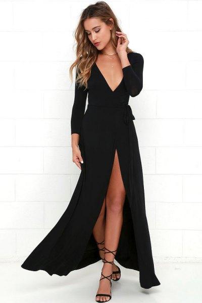 deep v neck high split maxi wrap dress