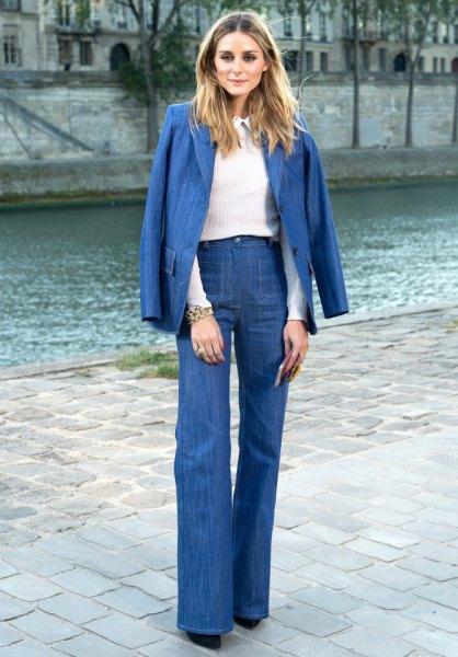 denim blazer high waisted flare jeans