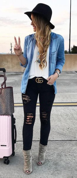 denim jacket black skinny jeans hat