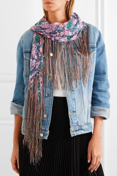 denim jacket skirt with floral chiffon scarf