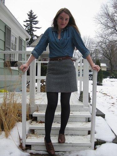 denim shirt grey mini skirt