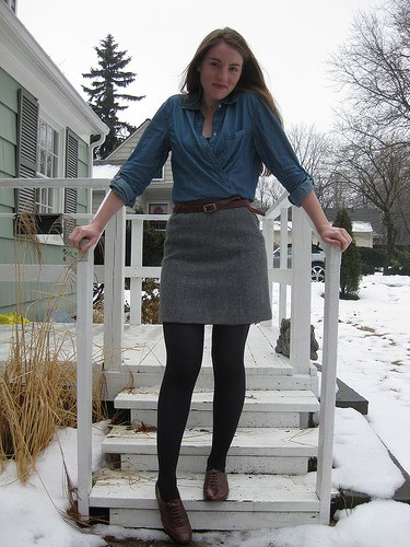 denim shirt grey mini skirt