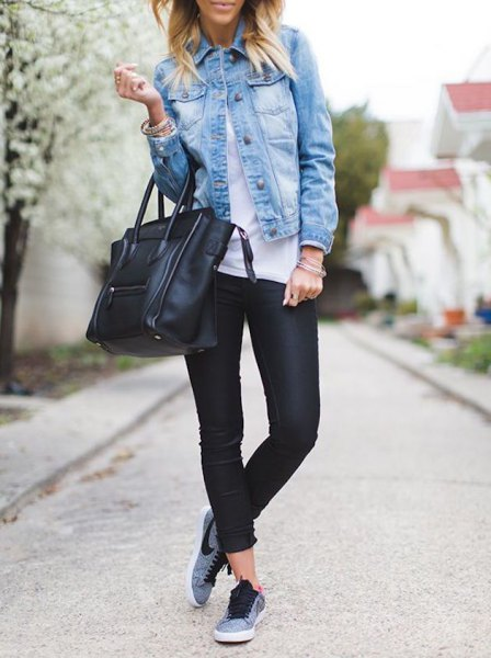 denim shirt sports tights grey nike sneakers