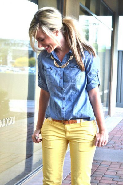 denim shirt yellow skinny jeans
