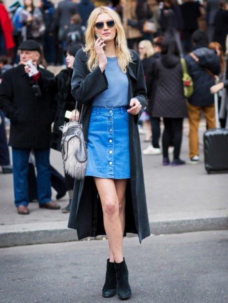 denim skirt black long trench coat