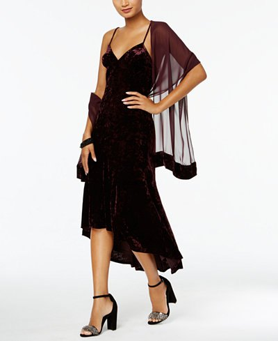 drape chiffon scarf over black slip dress