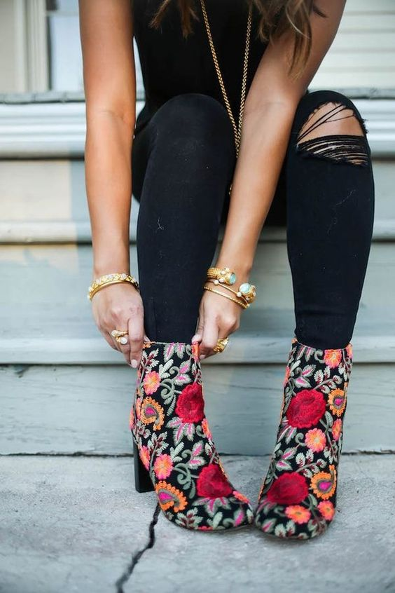 embroidered floral booties black jeans