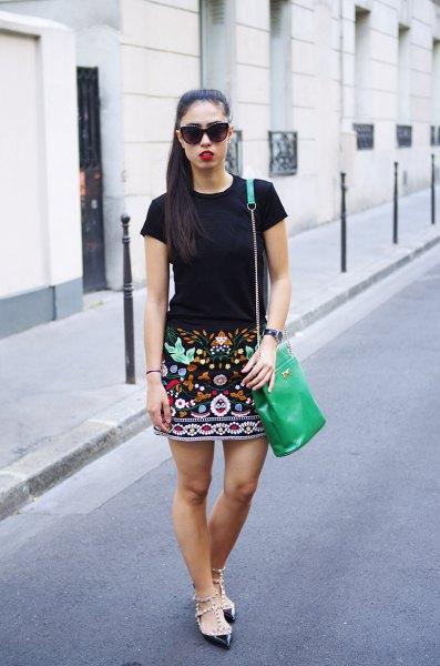 embroidered skirt black t shirt