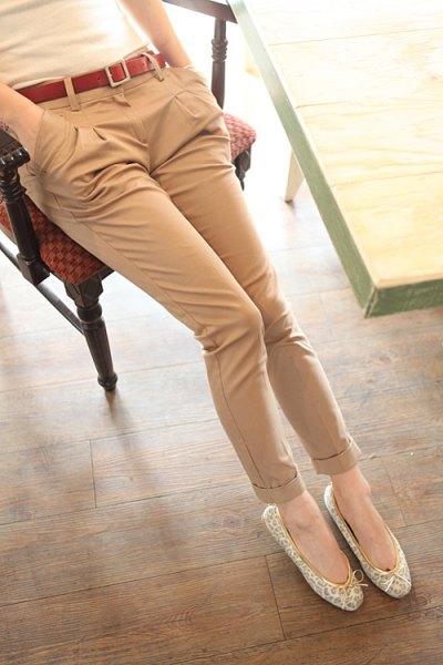 floral ballet flats beige khaiki pants