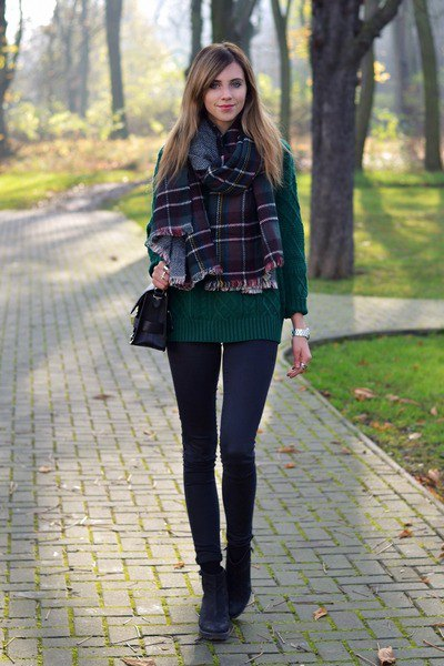 forest green knit sweater plaid scarf