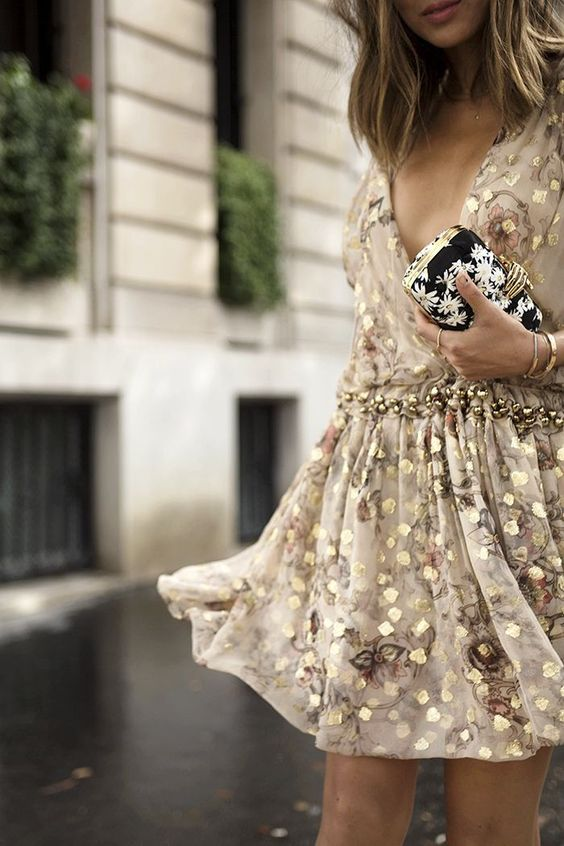 gold cocktail dress floral