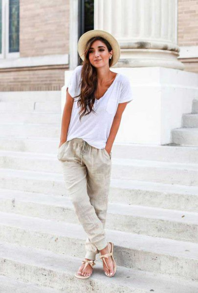grass hat linen pants white tee