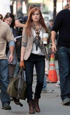 green blazer black jeans bow scarf