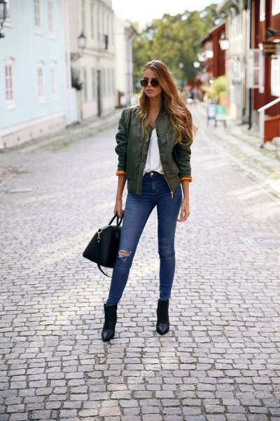 green bomber jacket pointy toe ankle boots