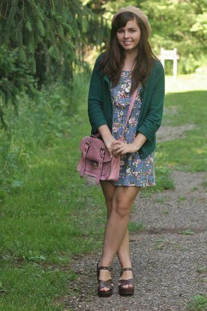 green cardigan floral skirt heeled sandals