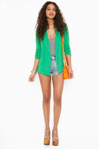 green chiffon blazer grey vest top denim shorts
