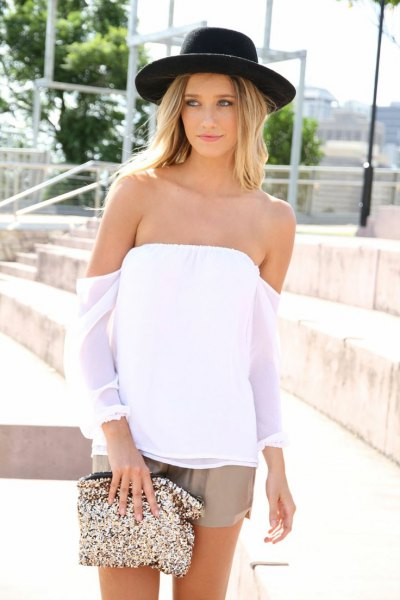 green chiffon shorts off shoulder white blouse