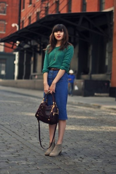 green knit sweater with high waisted midi denim skirt