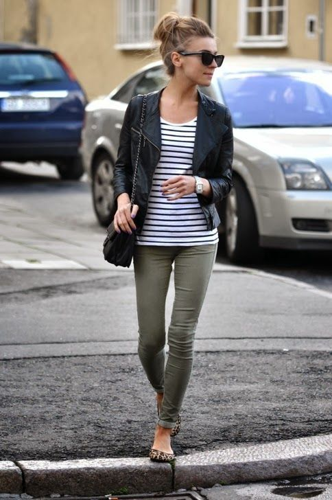 green skinny jeans leather jacket