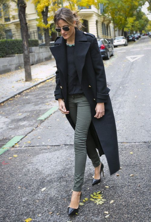 green skinny jeans long coat