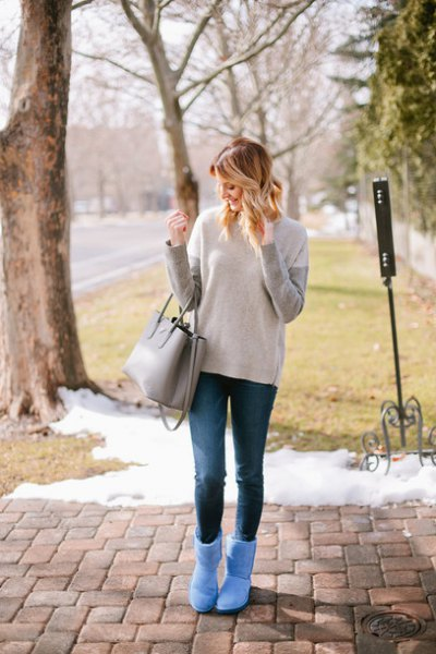 grey and ivory sweater sky blue fluffy ankle boots