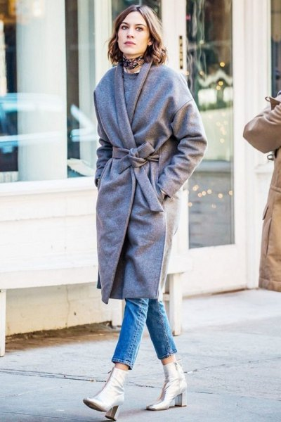 grey belted coat with silver leather ankle boots