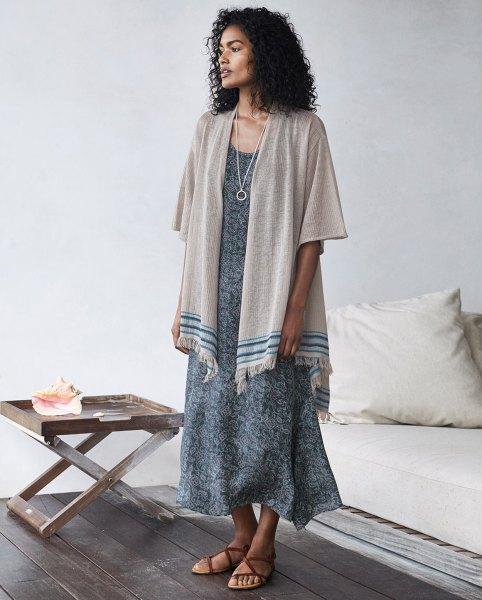 grey blanket cardigan boho style maxi dress