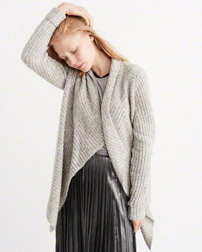 grey blanket cardigan silk pleaded skirt