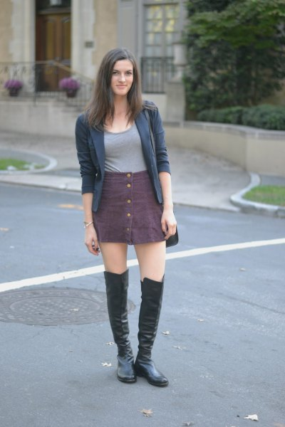 grey button up skirt over knee leather boots