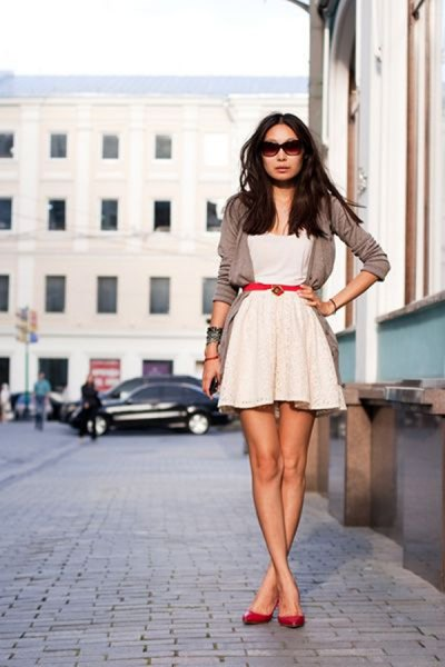grey cardigan white fit and flare lace dress
