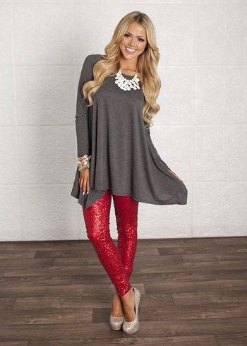 grey flare dress red sequin leggings