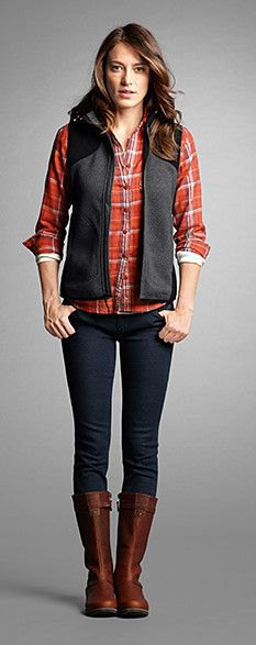 grey fleece vest red plaid shirt