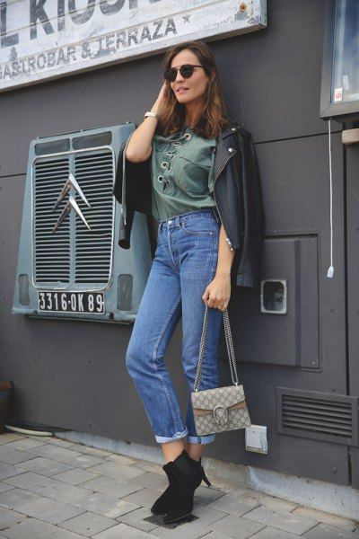 grey lace up shirt mom jeans leather jacket