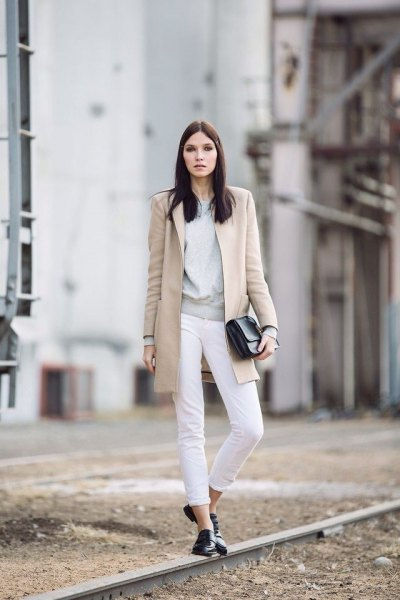grey sweater white jeans long wool coat