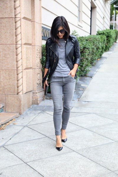 grey t shirt black leather jacket grey jeans