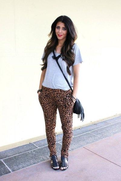 grey tee cheetah harem pants
